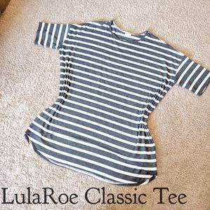 LulaRoe Classic Tee, 2XL, Gray and White Stripes